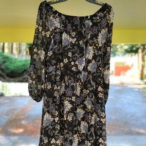 Maxi long sleeve off the shoulder floral dress